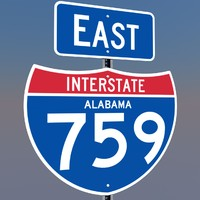 interstate 759 east highway sign 3d c4d