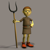 3d model tunic grimtoon guy peasant