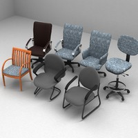 3d model set office chair
