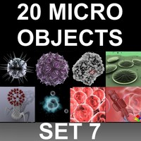 3d 20 micro objects set model