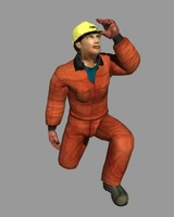 male hard hat man 3d model