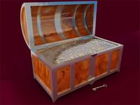 3d chest coins precious model