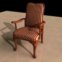 carved wood chair 3d model