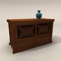 oriental wood dresser 3d model
