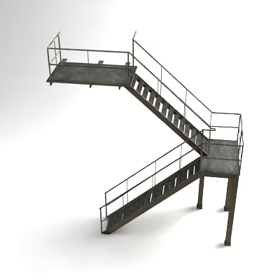 industrial staircase 3d obj - Industrial Staircase... by David_Turner