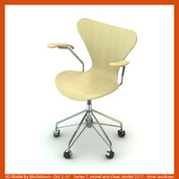 arne jacobsen swivel chair 3d model
