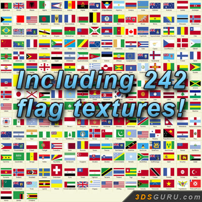 flag country poles 3d max - Flag Pack... by 3DSguru
