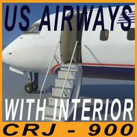 3d model crj 900 airways interior