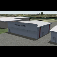 general aviation hangar 3d max