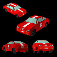 red racing car 3d model