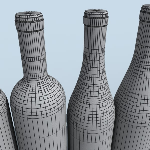 3d wine bottles model - wine bottles... by DigitalX