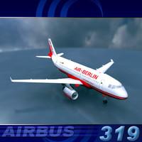 3d a319 air berlin model