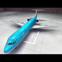 3d fokker 100 aircraft