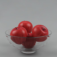 3d realistic apples glass vase model