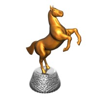 Golden statuette of horse