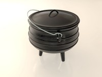 cast iron cooking pot 3d model