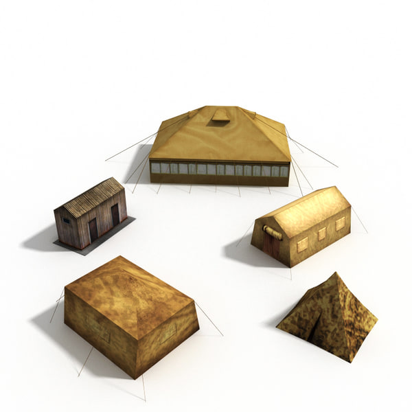 3d model military tents houses - Military tents and houses collection... by 3d_molier