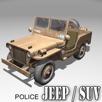 3d israel police willys jeep
