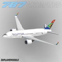 3dsmax b787-3 south african airways