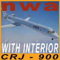 CRJ900 NWA with interior