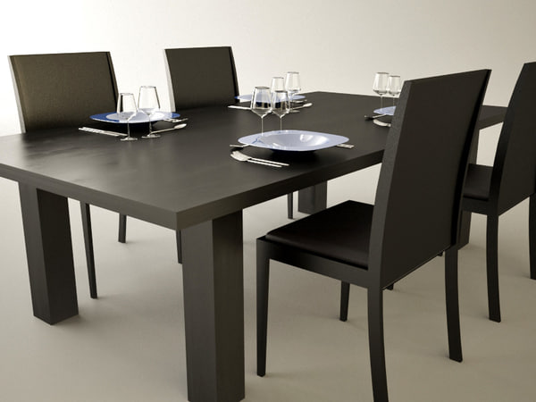 Dining table 3d model for Dining room table 3ds max