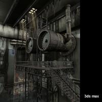 3d sci-fi interior scene