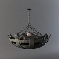 3d model medieval hanging lantern firewood