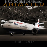 737-500 plane british airways 3d max