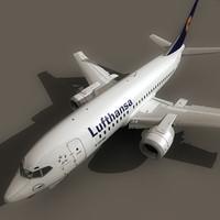 3d 737-500 plane lufthansa