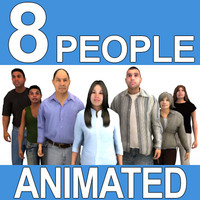 3d animations 8 pre-animated people casual model