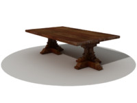 3d old wooden table model
