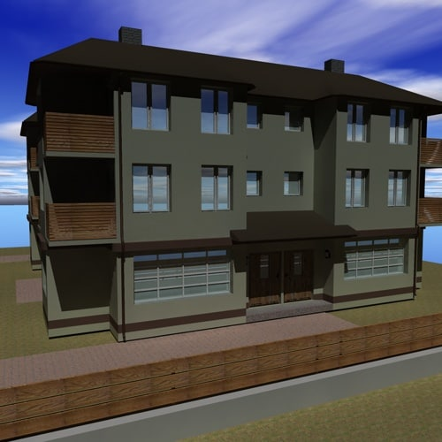 3d small apartment building model for Apartment model house