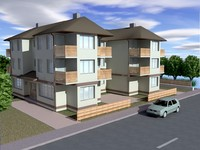 3d small apartment building model