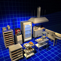 3d model donut shop equipment 01