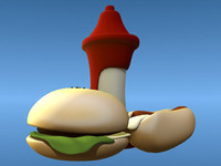 3d model cartoon hamburger hotdog