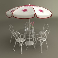 Table with umbrella, beer cups, Chairs and vase with Tulips