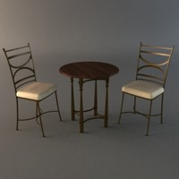 3d bistro set - table chairs