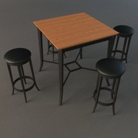 bistro set - table 3d model