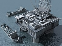 Oil Platform and Ship