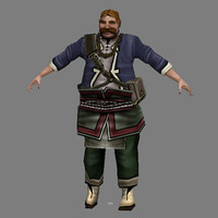3d model fat man - male