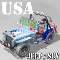 3d sports suv usa jeep willys model