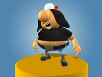 3d fat cartoon rocker model