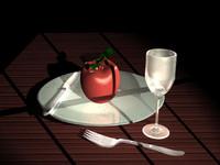 3d model table setting knife fork