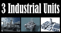 3d model 3 industrial units refinery