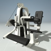 leg curl machine precor 3d model