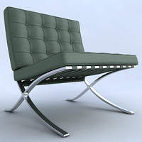 barcelona chair stool 3d model