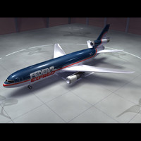 dc-10 air cargo old 3d model