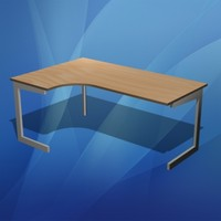 3d office desk corner model