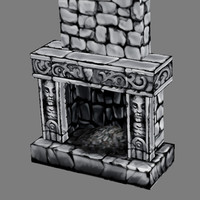 3d medieval fireplace - furniture model