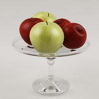 max realistic apples glass vase